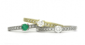 R1128 - white and yellow gold, emerald and diamonds - foto č. 21